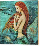 Red Hair Mermaid Mother And Child Wood Print