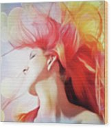 Red Hair With Bubbles Wood Print