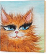 Red-haired Sofia The Cat Wood Print