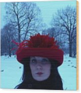 Red Hat On A Blue Day Wood Print