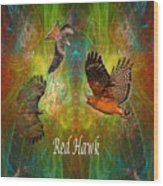 Red Hawk Moon Wood Print