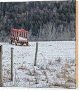 Red Hay Wagon Wood Print