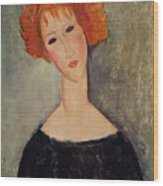 Red Head Wood Print by Amedeo Modigliani