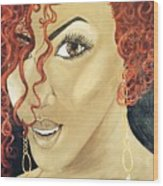 Red Head Wood Print