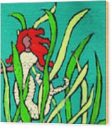 Red Head Mermaid Wood Print