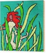 Red Head Mermaid Wood Print