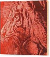 Red Head Tiger Wood Print