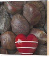 Red Heart Among Stones Wood Print