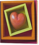Red Heart In Box Wood Print