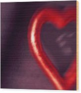 Red Heart Mirror Wood Print