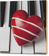 Red Heart With Stripes Wood Print