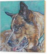 Red Heeler Australian Cattle Dog Wood Print by Lee Ann Shepard