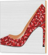 Red High Heel Shoe Wood Print