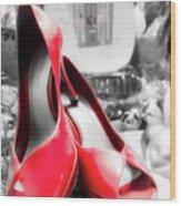 Red High Heels Wood Print