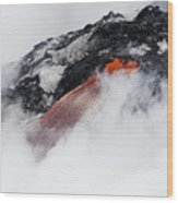 Red Hot Lava And Steam Wood Print