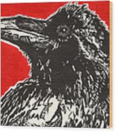 Red Hot Raven Wood Print