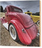 Red Hot Rod - 1930s Ford Coupe Wood Print