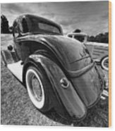 Red Hot Rod In Black And White Wood Print