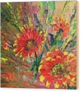 Red Hot Summer Flower Wood Print