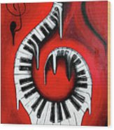 Red Hot - Swirling Piano Keys - Music In Motion Wood Print
