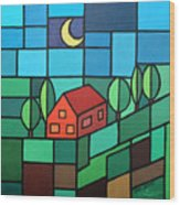 Red House Amidst The Greenery Wood Print