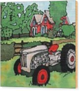 Red House And Tractor Wood Print