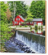 Red House By The Falls Wood Print