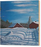 Red House In Winter Wood Print