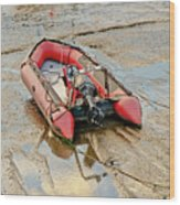 Red Inflatable Boat With Motor In Musselburgh Haven. Wood Print
