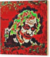 Red Joker Wood Print