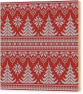 Red Knitted Winter Sweater Wood Print