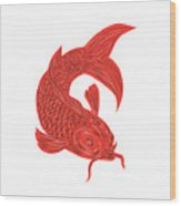 Red Koi Nishikigoi Carp Fish Drawing Wood Print