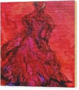 Red Lady Wood Print