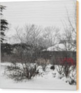 Red Leaves On White Snow Wood Print