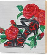 Red Leopard Roses Wood Print