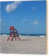 Red Life Guard Chair Wood Print