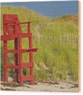Red Lifeguard Seat Wood Print