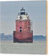 Red Lighthouse At The Sandy Point State Park Wood Print