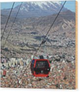 Red Line Cable Car Cabin And Mt Illimani Bolivia Wood Print