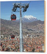Red Line Cable Cars And Mt Illimani La Paz Bolivia Wood Print
