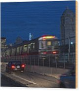 Red Line Train Rumbling Over The Longfellow Bridge In Boston Ma Wood Print