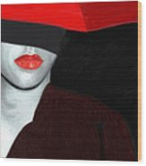 Red Lips And Umbrella Wood Print by James Shepherd