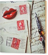 Red Lips Pin And Old Letters Wood Print
