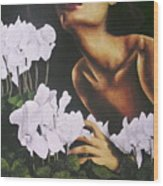 Red Lips White Flowers Wood Print