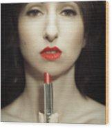 Red Lipstick Wood Print