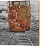 Red Locomotive Wood Print