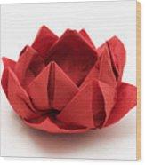 Red Lotus Origami Wood Print