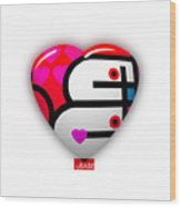 Red Love Heart Wood Print