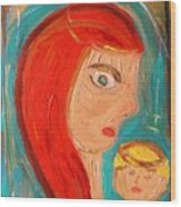 Red Madonna Wood Print