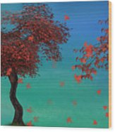 Red Maples Wood Print